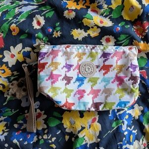 Kipling multicolor rainbow houndstooth pouch